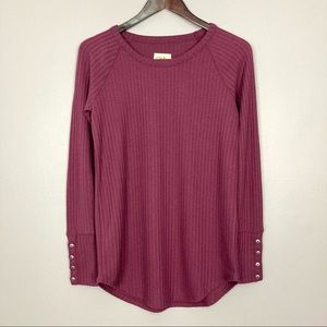 Chaser Button Cuff Thermal Top Long Sleeve Plum